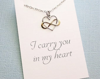 Miscarriage Necklace | Infinity Heart Necklace, Miscarriage Quote, Sympathy Gift, Condolence, Infant Loss Jewelry, Loss of a Child | R01