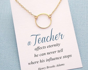 Teacher Gifts   Eternity Circle Necklace   Gifts for Teacher Mentor   Karma Necklace   Teacher Appreciation   Silver or Gold   T02