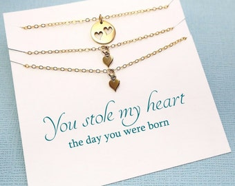 Mother Daughter Necklace | Twins Heart Necklace Set, Mother Daughter Jewelry Set, Gifts for Mom, Mother Daughter Gift, Mommy and Me | MD02