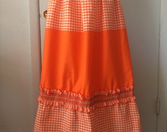 Maxi Skirt in Bright Orange and White Gingham Ruffled Hem Embroidered Details Elastic Waist Small Medium