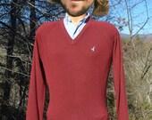 70s vintage v-neck sweater DUCK golf flying scotsman maroon red Small Medium preppy