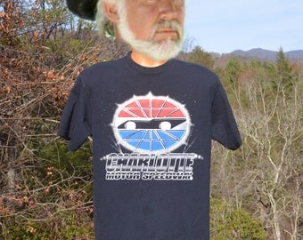 vintage tee shirt 80s NASCAR charlotte motor speedway car auto stock racing glitter black t-shirt Large Medium