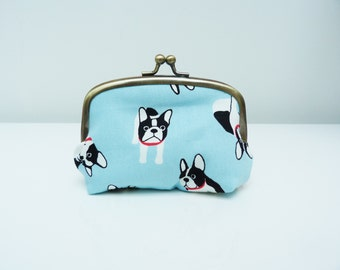 Coin purse, Boston Terrier design, French Bulldog fabric, cotton pouch,