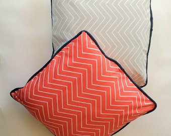 Chevron French Grey/Chevron Coral Twill/Pillow Covers/Add Piping/Throw Pillow Covers/Cushion Covers/Choose Size and Fabric/Add Piping/Cotton