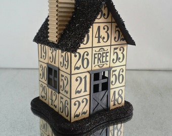 Bingo Putz House, Light-Ready, Black German Glass Glitter, Miniature Mini House, Bingo Cards