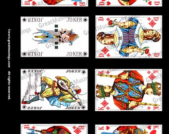 Red playing cards vintage images Download Digital Collage Sheet altered art graphics No.132