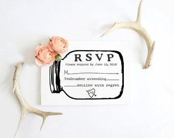 RSVP rubber stamp for custom DIY wedding invitations Mason jar --13001-CB18-000