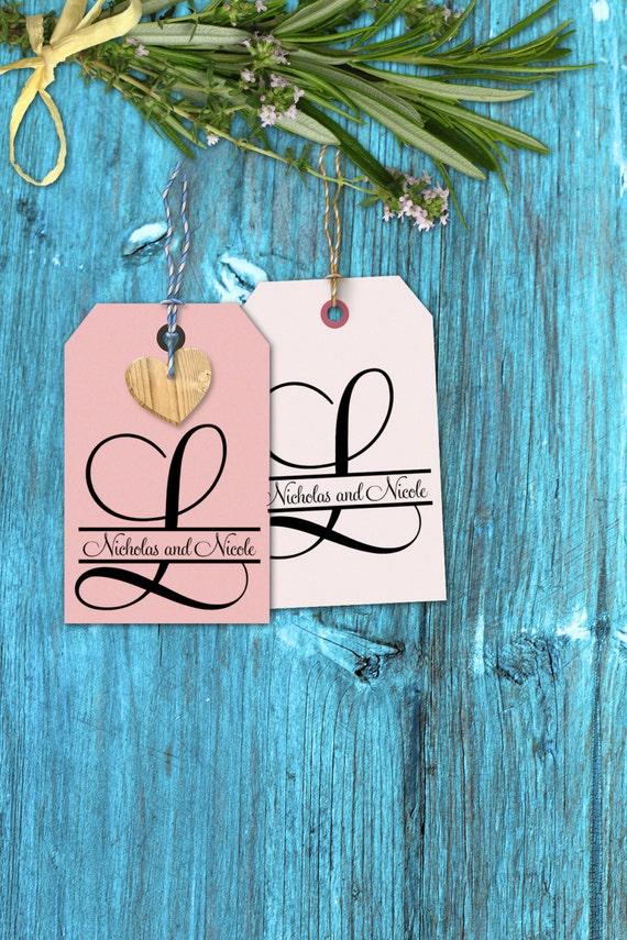 """Monogram Stamps rubber stamp Initial with names through it for wedding decorations 4"""" --13022-CB37-000"""