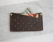 Perforated Leather Double Card Holder / Leather Wallet / Slim Wallet / Minimalist Leather Wallet / Card Wallet / Business Card Holder