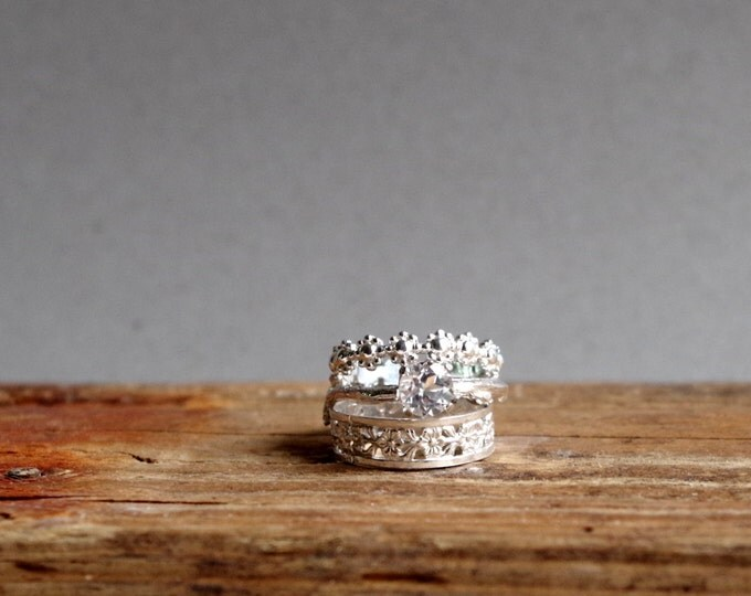 Botanical Engagement Ring White Topaz Twig Ring Stack Ring Set Silver Rings Gifts For Her