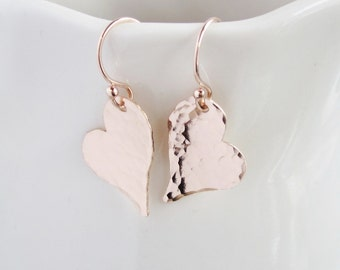 Rose gold heart earrings, pink gold, wife gift, girlfriend gift, abstract hearts, hammered metal earrings, dangle earrings, silver earrings