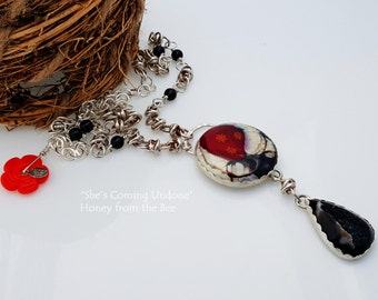 Black druzy necklace with lampwork cabochon and sterling silver chainmaille necklace - She's Coming Undone