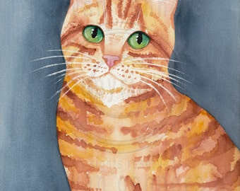 CAT Art Ginger Portrait Original Cat Watercolor Folk Art Painting