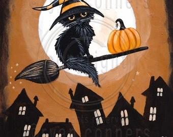 The Little Witch Black CAT Original Halloween Cat Folk Art Painting