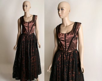 Vintage 1950s Lace Gown - Formal Evening Copper and Black Cocktail Date Dress - Medium