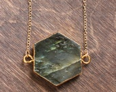 Long Labradorite Gold Edged Hexagon Stone Necklace - Brass, Gold Plated or 14k Gold Fill Chain