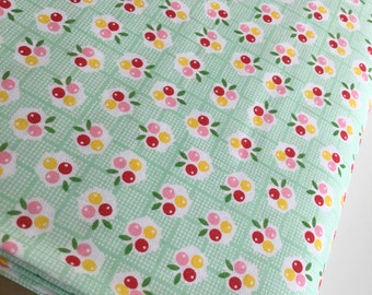 SALE Backyard Roses fabric, Berries Mint, Green fabric, Discount fabric, Riley Blake Fabrics, Fabric by the yard, Choose your cut