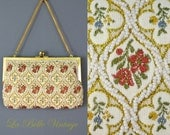 Beaded Tapestry Purse Vintage Floral Needlepoint Evening Bag ~ Covertible Clutch