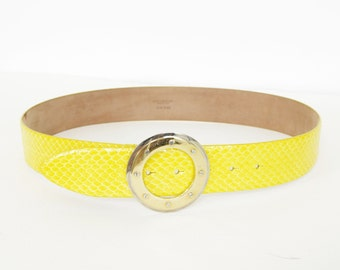 MOVING SALE Dolce and Gabbana Italy Vibrant Yellow Genuine Snakeskin Designer Belt 90 cm 36 inch