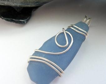 Blue Beach Glass Sterling Silver Wire Wrapped Unisex OOAK Artisan Beach Boho Summer Fun Funky Pendant