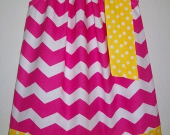 Pink Lemonade Party Dress Pillowcase Dress Chevron dress Girls Dresses for Summer Dresses for Girls Hot Pink and Yellow Sundress