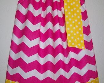 SUMMER SALE Pink Lemonade Party Dress Pillowcase Dress Chevron dress Girls Dresses for Summer Dresses for Girls Hot Pink and Yellow Sundress