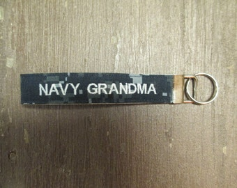 Military Wristlet, Navy Grandma Name Tape Key Chain, Navy Grandma Military Keychain, Navy Grandma Key Fob