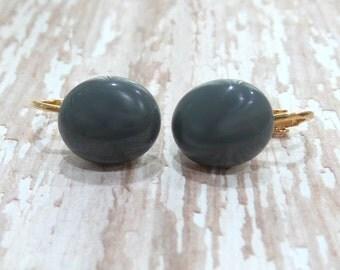 Grey Clip On Earrings, Dark Gray, Non Pierced Earrings, Gray Fused Glass Jewelry, Ready to Ship - Elephant Ears - -6