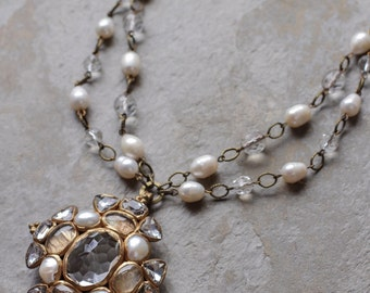 Clear quartz with freshwater pearls cluster cross pendant/ necklace in part 2 strands (N-4091)