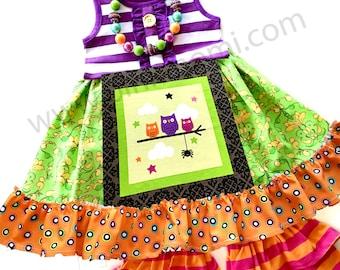 Halloween Owl swing top dress girls boutique clothing custom