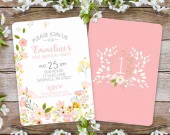 First Birthday Invitation / Girl Floral Invitation / Garden Party / 1st birthday invitation