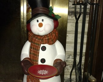 27 inch Snowman with Snowflake Plate
