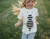 Kid's HONEY BEE tshirt - graphic tee for boys or girls - unisex top - striped bee screenprint on organic cotton - nature lover shirt