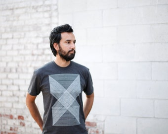 Mens Graphic Tee, Minimalist Gift for Men, Geometric Mens T Shirt Gift for Dad, Black and White Shirt - PALINDROMES Triangles Shirt for Him