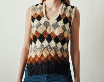 Vintage Basket Weave Pattern Sweater Top