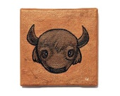 Buffalo Painting - Bison Portrait Art - Original Animal Wall Art Acrylic on Miniature Canvas 3x3 Inches - American Bison Small Painting