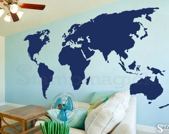 World map wall decal countries border wall art sticker large world map wall decal 7 or 8 feet tall world map decal wall gumiabroncs Choice Image