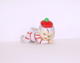 Vintage Fairy Dressed in Red and White Figurine