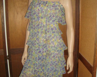 80's Floral Tiered Dress