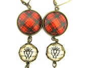 Scottish Tartan Jewelry - Ancient Romance Series - MacQuarrie Ancient Tartan Earrings with Luckenbooth Charms
