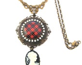 Scottish Tartan Jewelry - Tartans Special Occasion Collection - Wallace Ancient Rhinestone Studded Cameo Swag Necklace