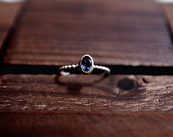Blue Iolite Bezel Ring - Faceted Oval Cut Ring - Fine Silver Bezel Ring - Sterling Silver Ring - Size 7.5 Ring - Handcrafted Gemstone Ring