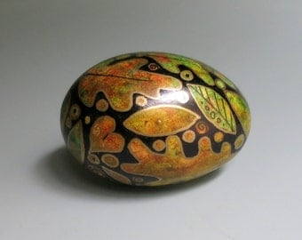 Hand Painted Egg Autumn Oak Leaves, Nature Art