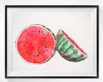 Original Watercolor Painting Watermelon Fruit Artwork / Kitchen wall decor / Red color field / Botanical gardener gift garden art 8 x 10 K