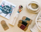 DIY Tassel Making Kit.  Make your own large or mini tassels with cream cotton rope and waxed natural coloured twine. Block colour tassels