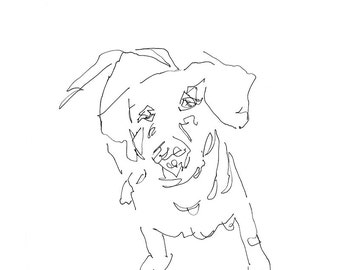 dog art - giclee print 8X10 - gestural expressive pen ink line drawing