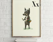 Xoloitzcuintle - Alphabet art - Alphabet Letters - Baby Zoo Animals - Safari Nursery - Nursery art - Nursery decor - Baby Animals