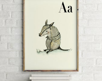 A for Armadillo - Alphabet art - Alphabet Letters - Baby Zoo Animals - Safari Nursery - Nursery art - Nursery decor - Baby Animals