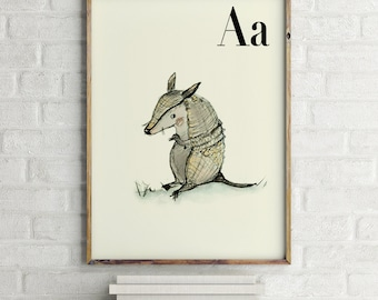 Armadillo print, nursery animal print, alphabet cards animals, alphabet letters, abc letters, alphabet print, animals prints for nursery