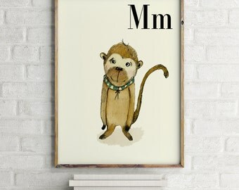 Monkey print, nursery animal print, safari nursery, alphabet letters, abc letters, alphabet print, animals prints for nursery